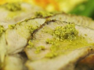 Pork Tenderloin with Pesto Sauce and Peas -