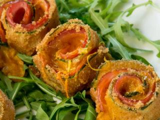 Zucchini, Ham and Cheddar Rolls -