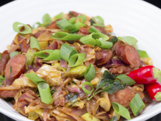 Fried Cabbage with Smoked Sausage -