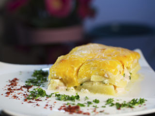 Turkey Ham and Cheesy Potato Casserole -