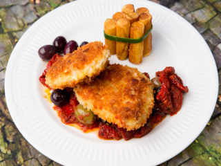 Crusted Chicken Breast with Fried Potato Tots -