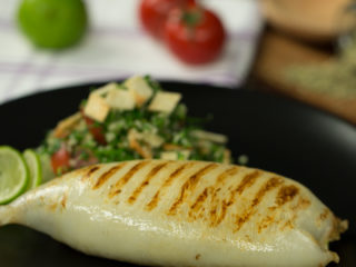 Grilled Stuffed Squid with Tabbouleh Salad -