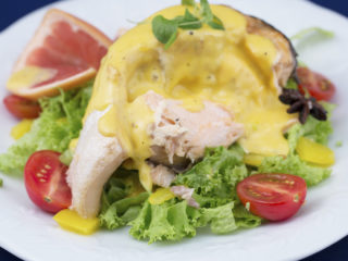 Whole Roasted Salmon with Olive Oil Hollandaise Sauce -