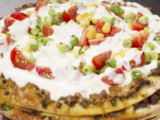 Beef and Cheddar Tortilla Stack -