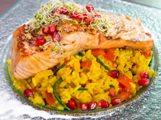 Pan-Fried Salmon with Flavored Rice -