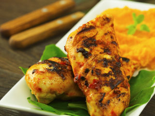 Spicy Chicken with Sweet Potato Mash -