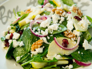 Spinach and Apple Salad with Mustard Dressing -