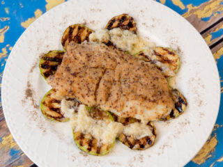 Dijon-Crusted Halibut and Grilled Zucchini -