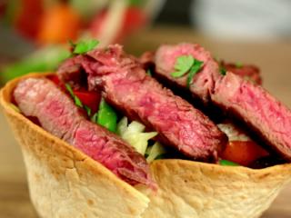 Lamb Steak on a Salad Basket -