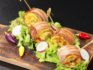 Bacon-Wrapped Omelet Rolls -