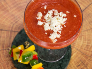 Creamy Tomato Soup with Veggie Skewers -