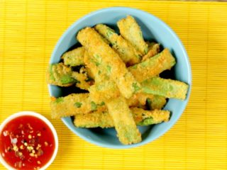 Fried Green Beans in Parmesan -