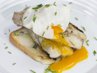 Fried Mackerel and Poached Egg on Toast -