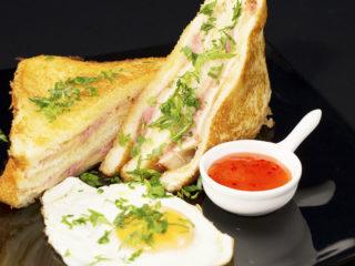 Prosciutto, Ham and Cheese Breakfast Sandwich -