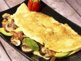 Crispy Bacon, Mushroom and Avocado Omelet -