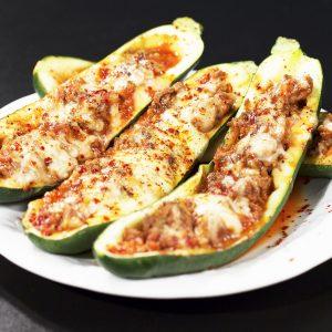 Stuffed Zucchini with Beef and Veggies -