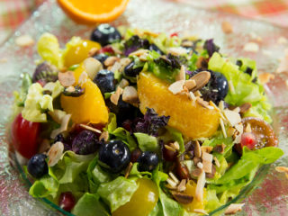 Fresh Fruit Salad with Lettuce and Kale -