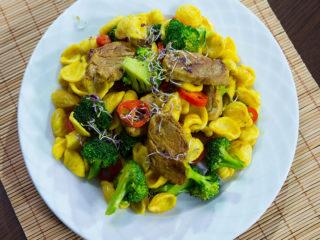 Skillet Orecchiette with Pork and Broccoli -