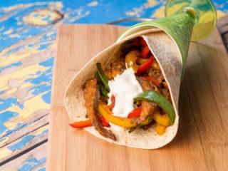Steak Fingers and Stir-Fried Veggies in a Wrap -