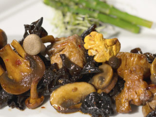 Soy Sauce Glazed Turkey and Mushrooms -