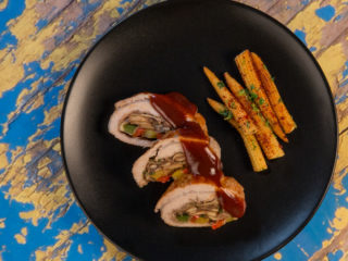 Mushroom-Stuffed Pork Rolls with Sweet Baby Corn -