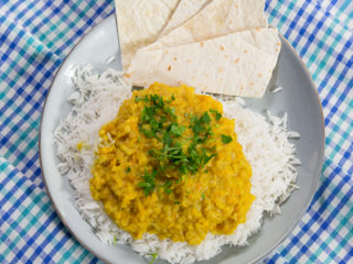 Lentil Curry with Rice -