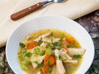 Chicken, Pasta and Celery Soup -