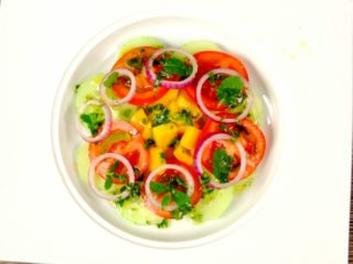 Tomato and Cucumber Salad with Mint Dressing -