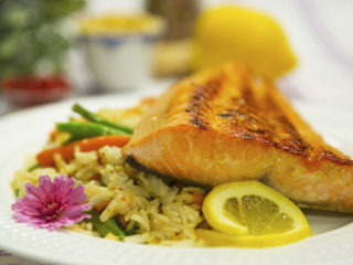 Pan-Fried Salmon with Vegetable Rice -