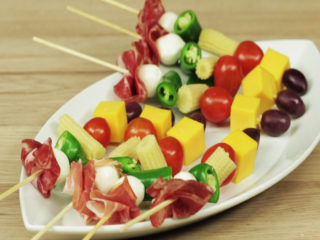 Prosciutto, Cheese and Veggie Skewers -