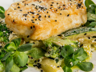 Fried Swordfish Fillet with Zucchini and Broccoli -