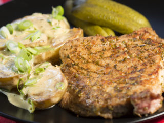 Pan-Fried Pork Steak with Potatoes and White Sauce -