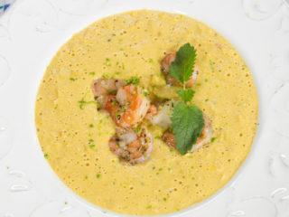 Creamy Sweet Corn Soup with Shrimp -