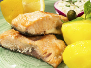 Fried Salmon with Buttered Potatoes -