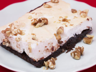 Cherry Jam and Meringue Brownie -