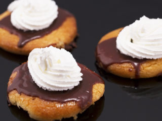 Chocolate-Glazed Cookies with Whipped Cream -