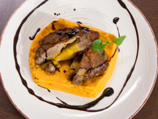 Cheddar-Stuffed Pork with Sweet Potato Mash -