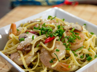 Shrimp Taglierini in Coconut Sauce -
