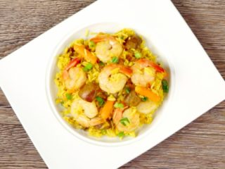 Fried Shrimp with Veggie Rice -