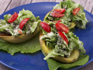 Salad and Bacon Loaded Potato Skins -