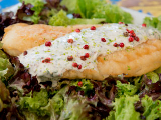 Fried Halibut on Lettuce Salad -