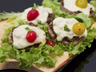 Eggplant Rounds with Beef and Mozzarella -