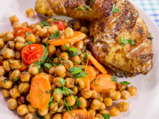 Roasted Chicken Thighs with Chickpeas -