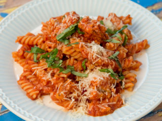 Cornmeal Crusted Beef Fusilli Pasta -