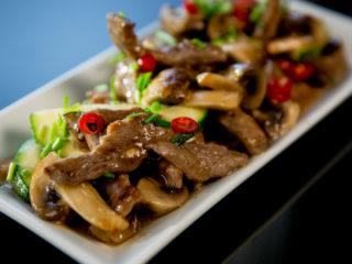Beef, Zucchini and Mushroom Stir-Fry -