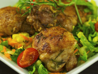Rosemary Chicken Thighs with Spring Salad -