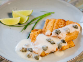 Fried Halibut with Caper Sauce -