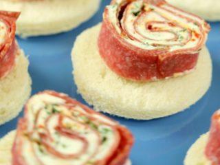 Salami and Cream Cheese Rolls -