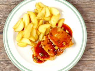 Fried Pork with Salsa Sauce -