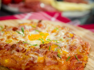 Bacon Pizza with Egg on Top -